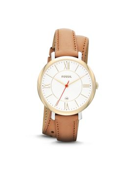 jacqueline-tan-leather-watch by fossil