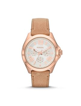 cecile-multifunction-sand-leather-watch by fossil