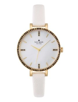 metro-crystal-bezel-leather-strap-watch,-34mm by kate-spade-new-york