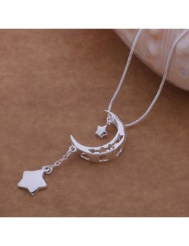 wholesale--hot-silver-fashion-jewelry-chains-star-&-moon-charm-pendant-necklace-2014-women-jewelry--wn-509 by ali-express