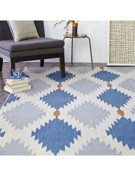 phoenix-wool-dhurrie-rug---regal-blue by west-elm