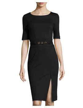 ponte-star-belted-side-slit-dress,-black by love-moschino