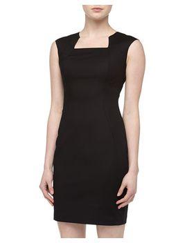 split-neck-paneled-sheath-dress,-black by tahari