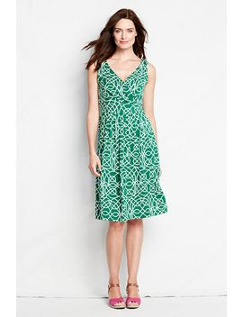 womens-sleeveless-pattern-cotton-modal-fit-and-flare-dress by lands-end