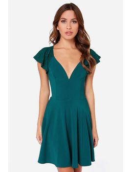 lulus-exclusive-orchard-sunset-teal-blue-short-sleeve-dress by lulus