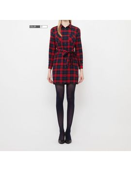 women-flannel-check-long-sleeve-shirt-dress by uniqlo