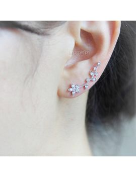 flower-and-leaf-ear-pin-_-choose-your-color---gold-and-silver by laonato