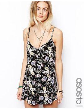 asos-tall-floral-print-cami-playsuit by asos-tall