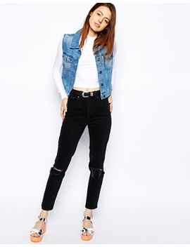 asos-farleigh-high-waist-slim-mom-jeans-in-washed-black-with-busted-knees by asos-collection