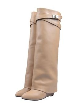 leather-wedge-knee-boots by choies