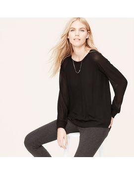 sheer-sleeve-woven-sweatshirt by loft