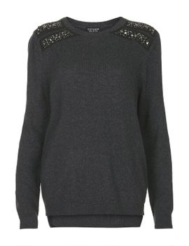 shoulder-embellished-jumper by topshop