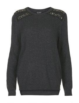shoulder-embellished-jumper by topshop