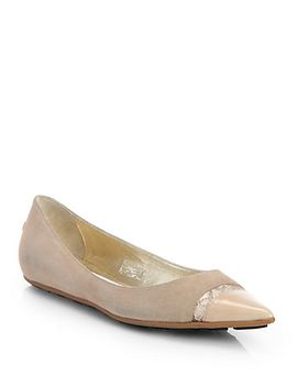 ginny-suede-cap-toe-ballet-flats by jimmy-choo