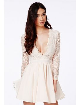 dayana-nude-lace-sleeve-puff-ball-dress by missguided