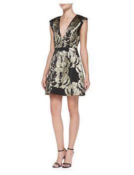 pacey-metallic-jacquard-structured-dress by alice-+-olivia
