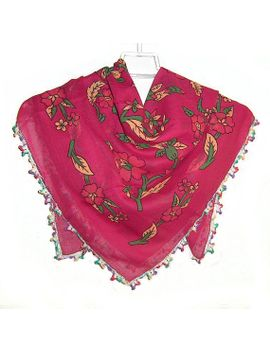 traditional-turkish-yemeni-cotton-scarf-with-crocheted-lace,-fuchsia-_-green-_-yellow-floral-pattern by naryaboutique