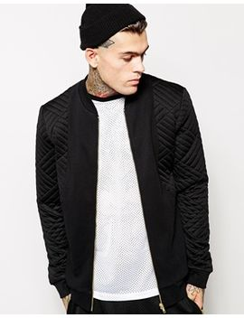 asos-bomber-in-jersey-with-quilted-sleeves by asos