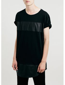 black-long-line-leather-look-t-shirt by topman