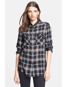 leather-trim-plaid-long-sleeve-shirt by vince