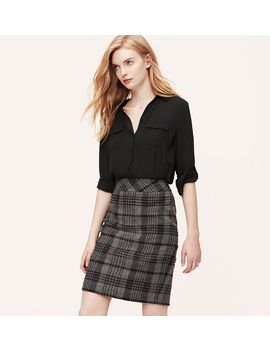 curvy-fit-woolly-plaid-pencil-skirt by loft
