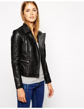 warehouse-quilted-double-buckle-leather-biker-jacket by warehouse