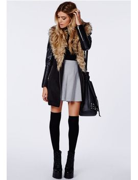 orla-faux-fur-leather-biker-sleeve-coat-black by missguided