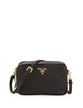 vitello-mini-zip-crossbody-bag,-black-(nero) by prada