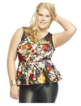 floral-peplum-mesh-inset-tank by wet-seal