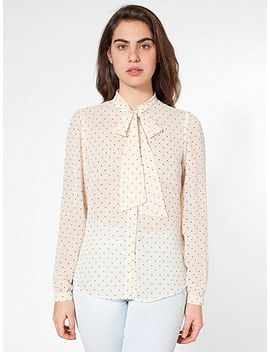 polka-dot-chiffon-secretary-blouse by american-apparel