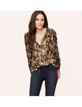 petite-floral-vine-tie-neck-blouse by loft
