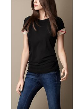 check-cuff-cotton-t-shirt by burberry