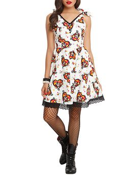 the-book-of-life-la-muerte-all-over-print-dress by hot-topic