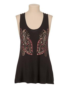 lattice-back-paisley-print-tank-with-foil by maurices