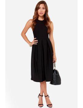lulus-exclusive-halter-native-girl-backless-black-midi-dress by lulus