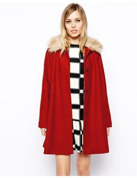 asos-coat-in-trapeze-with-faux-fur-collar by asos-collection