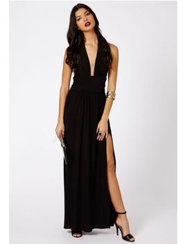 alda-slinky-halterneck-maxi-dress-in-black by missguided