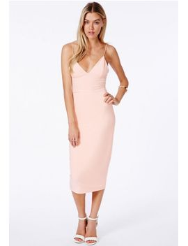 elodia-slinky-strappy-midi-dress-in-nude by missguided