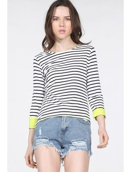 black-long-sleeve-striped-dipped-hem-t-shirt by sheinside