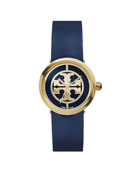 reva-watch,-navy-leather_gold-tone,-28-mm by tory-burch