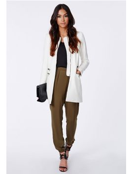 jenelle-zip-detail-collarless-jacket-ivory by missguided