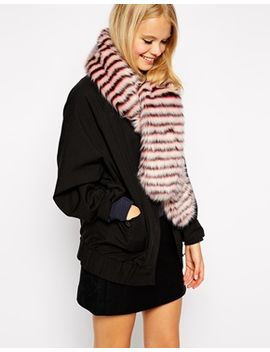 asos-faux-fur-scarf-with-white-stripe by asos-collection