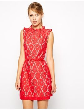 oasis-high-neck-lace-dress by oasis