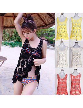 women-bikini-swimwear-cover-up-beach-dress-lace-hollow-crochet-sleeveless-smock-free-drop-shipping by ali-express