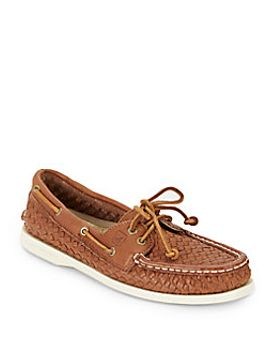 authentic-original-woven-leather-boat-shoes by sperry