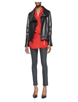 shawl-collar-leather-jacket,-pebbled-satin-trim-draped-top-&-coated-stretch-legging-jeans by helmut-lang