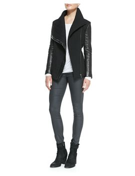 blizzard-knit_leather-jacket,-kinetic-jersey-long-sleeve-top-&-coated-stretch-legging-jeans by helmut-lang
