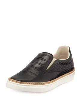 crocodile-embossed-skate-shoe,-black by maison-martin-margiela