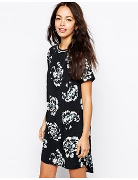 new-look-floral-print-t-shirt-dress-with-rib by new-look