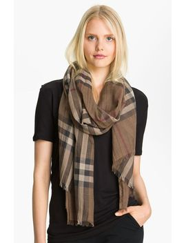giant-check-print-wool-&-silk-scarf by burberry